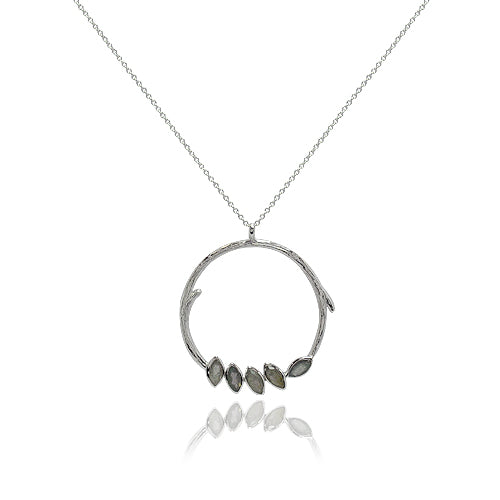 LONG STERLING BRANCH HOOP NECKLACE SET WITH STONES