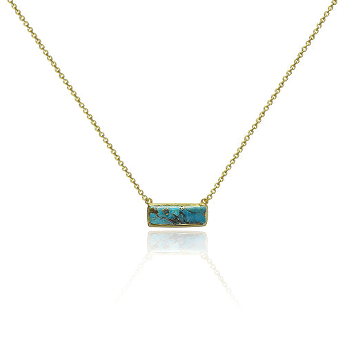 Beautiful Dainty Turquoise bar Necklace.