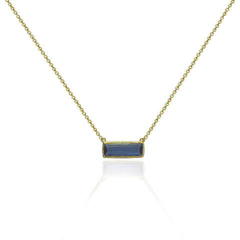 Beautiful Dainty Iolite bar Necklace.