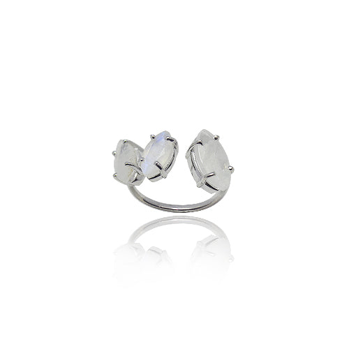 TRIPLE RAINBOW MOONSTONE SILVER RING