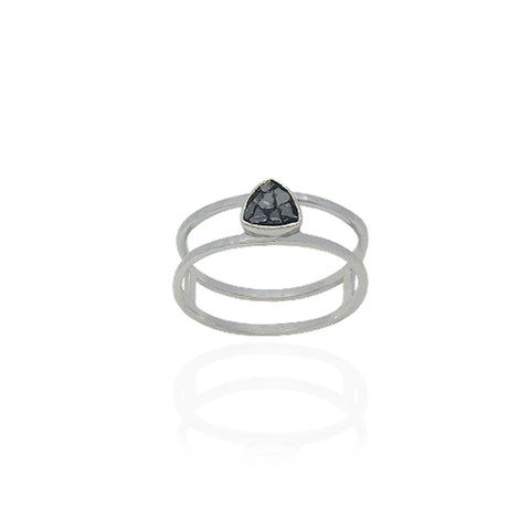 BLACK DIAMOND GEOMETRIC STERLING RING