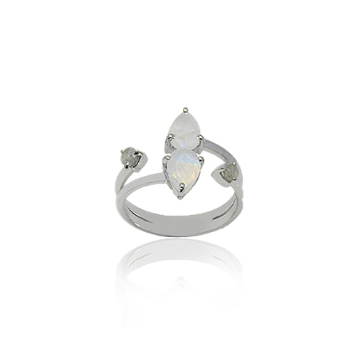 DOUBLE PEAR CUT MOONSTONE RING, WITH LABADORITE ACCENT STONES