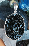 Black Czech Glass Flower Pendant