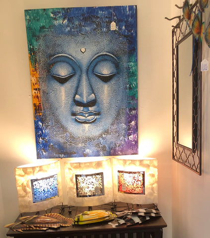 Buddha wall art and mosaic lamps available in store