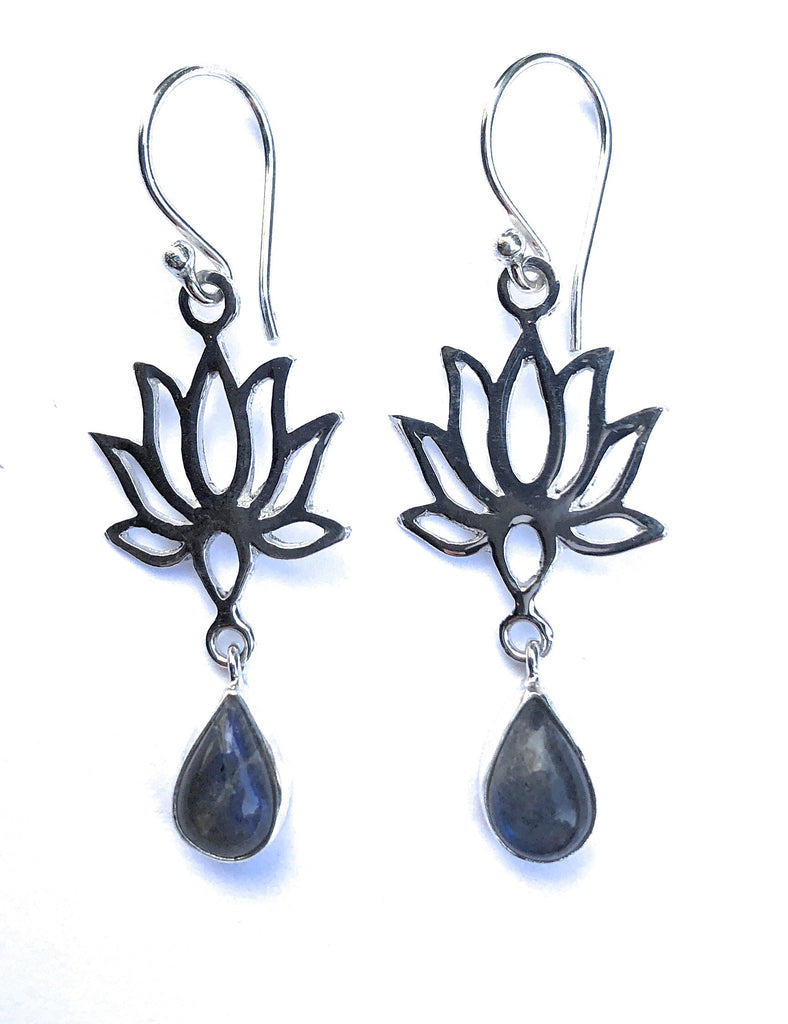 STERLING SILVER LABRADORITE & LOTUS BLOSSOM EARRINGS