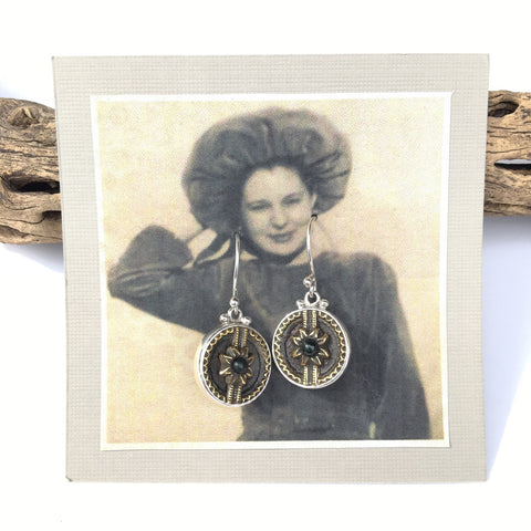 Antique Sterling Silver Button Earrings