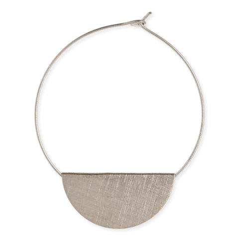 Brushed Silver Half Circle Hoop Earring