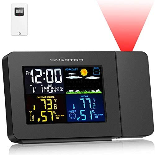 SMARTRO SC91 Projection Alarm Clock for Bedrooms with Weather Station