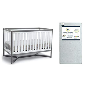 Children Tribeca 4-in-1 Convertible Crib, White/Grey + Toddler Mattress (Bundle)