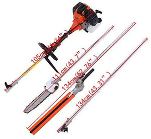 Chainsaw Brush Cutter Grass Hedge Trimmer and Extension Pole Multifunction.