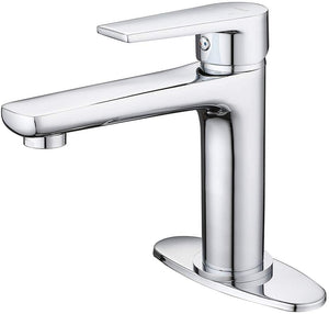 LENJAY Brass Single-Lever Deck Mount Faucet, Single Hole Standard Bathroom