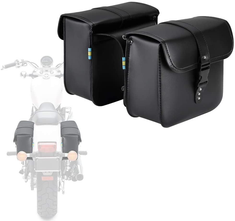 Motorcycle Saddle Bags, 2 Pack Universal PU Leather Saddlebags for Honda Shadow Suzuki