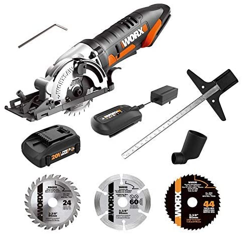 20V 1.5Ah Cordless Lithium saw with 1 TCT Blade, 1 Diamond Blade, Battery and Charger Included.