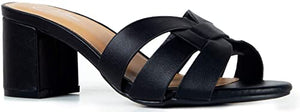 J. Adams Nori Mules for Women - Dressy Slip On Block Heeled Sandals