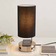 Bedside Table Lamp for Bedroom with USB and Wireless Charging Port.