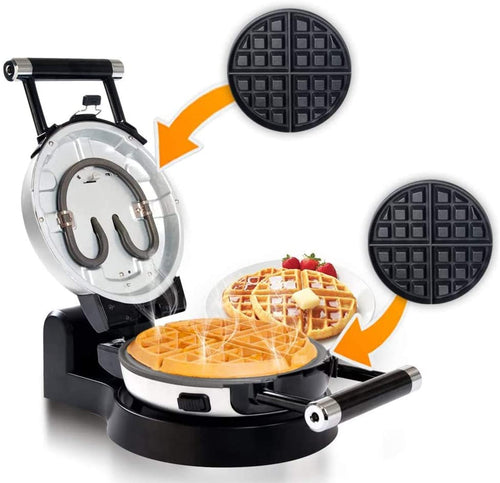 Secure Upgrade Automatic 360 Rotating Non-Stick Belgian Waffle Maker