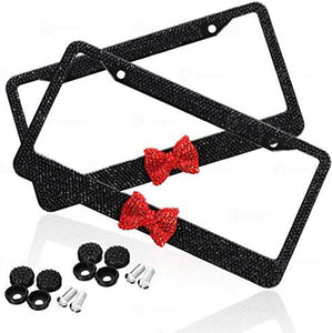 Premium Quality Novelty/License Plate Frame with Crystal Mounting Screws