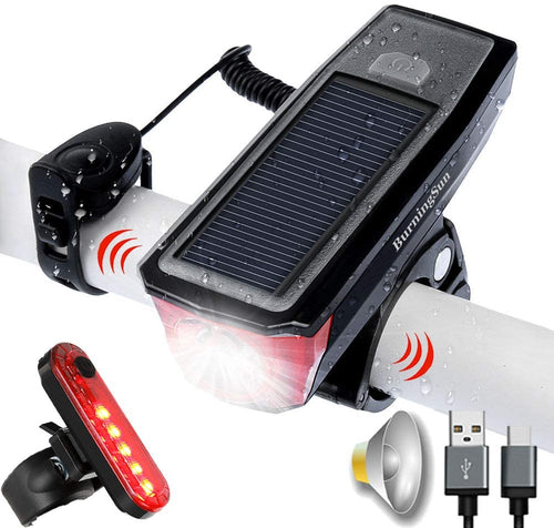 Bicycle Solar Rechargeable Headlight and Taillight Set w/Integrated Horn