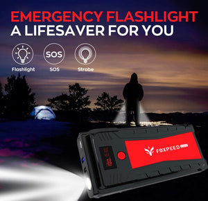 Portable Auto Jump Starter with Powerful 2500 A (up to 8L Gas, 6.5L Diesel Engine)