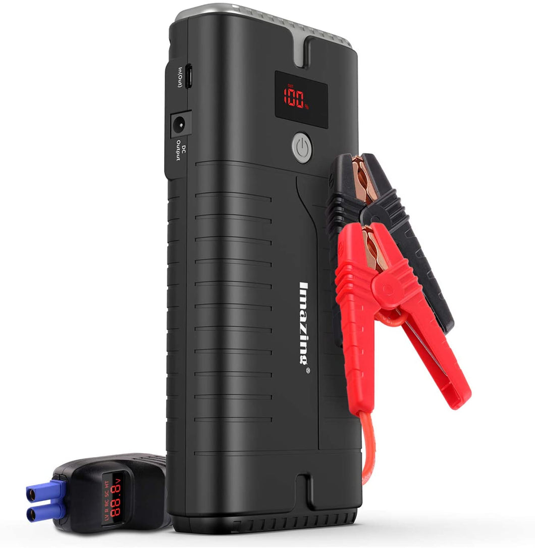 Portable Car Jump Starter 2000A Peak 18000mAH Suited for Up to 10L Gas or 8L Diesel Engine w/QC 3.0