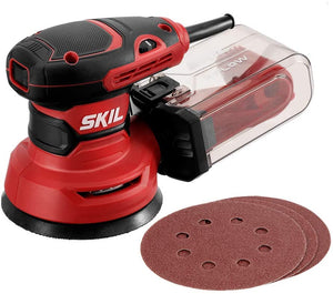 Random Orbital Sander, Includes 3pcs Sanding Papers and Dust Box.