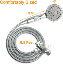 Handheld Shower Head with On/Off Switch - 5 Spray Settings 6.5 Feet Extra Long Hose