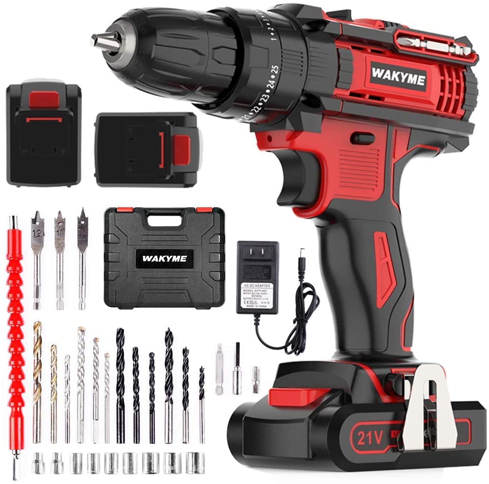 Cordless Drill Driver Kit with 2 Batteries, WAKYME 21V Impact Drill  for Drilling Wall, Bricks, Wood And Metal