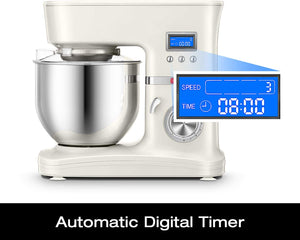 Hauswirt Stand Mixer, 3-IN-1 Tilt-Head Electric Kitchen Tool with Digital Timer