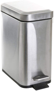 BINO Stainless Steel 1.3 Gallon / 5 Liter Rectangle Step Trash Can, Matte White
