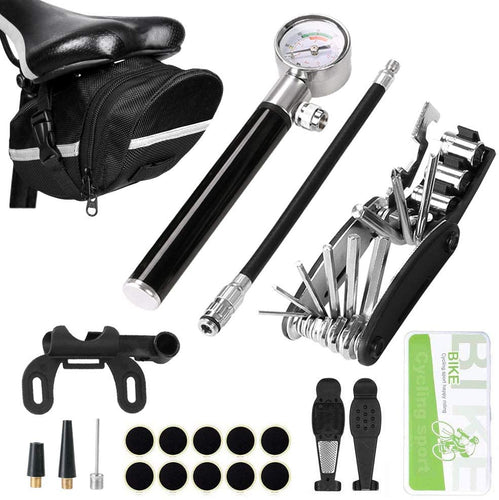 Bike Tire Repair Tool Kit with 210 PSI Gauge Hand Pump