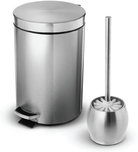 Home Zone Living 1.8 Gallon Bathroom Trash Can and Toilet Brush Combo