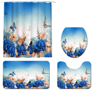 Beautiful Butterfly Shower Curtain Sets with Non-Slip