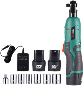 "12V Cordless Ratchet Wrench Kit, 6-Piece Sockets and 1-Piece 1/4"" Adapter,"