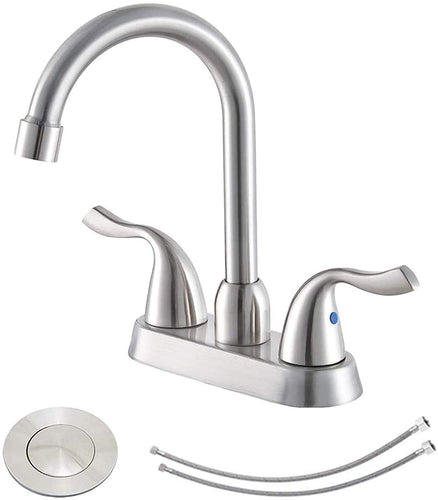 Hotis Commercial 2-Handle Brushed Nickel Bathroom Sink