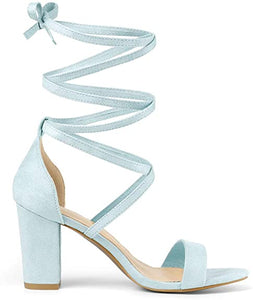 Allegra K Women's Open Toe Lace Up Chunky High Heel Sandals
