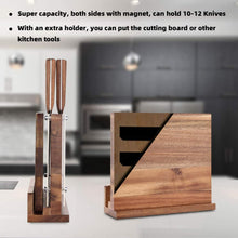 ENOKING Knife Block Set, 6 Pieces Knife Set with Magnetic Wooden Block