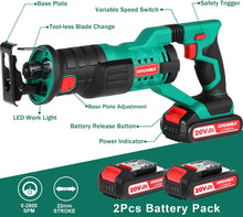 Cordless Reciprocating Saw, 2Ah 2 Batteries 4 Saw Blades ,for Wood Metal Cutting..