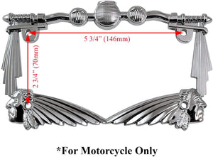 3D Handle Bar and Indian Chief Style Zinc Metal Chrome Finished Motorcycle License Plate Frame