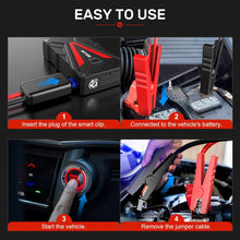 Auto Battery Booster Pack with Smart Safety Jumper Cable, QC3.0 USB Outputs