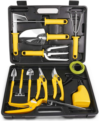 Garden Tools Set 14 Pcs Stainless Steel Garden Tool Kit with Carrying Case.