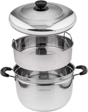 Lake Tian 2 Tier Stainless Steel Steamer Cookware Pot & Pan/Saucepan