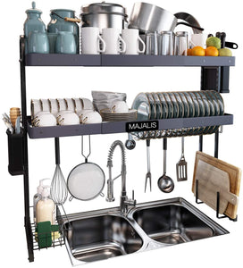 Expandable Kitchen Organizer Storage Space Saver Shelf with 6 Utility Hooks(Grey)