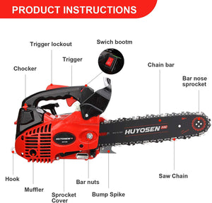Gas Powered Chain Saw 12-Inch Chainsaw Chain with Tool Kit for Cutting Forest Wood Garden