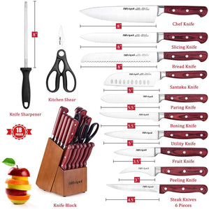 Knife Set, Premium 18-Piece Kitchen Knife Set with Block made of High Carbon