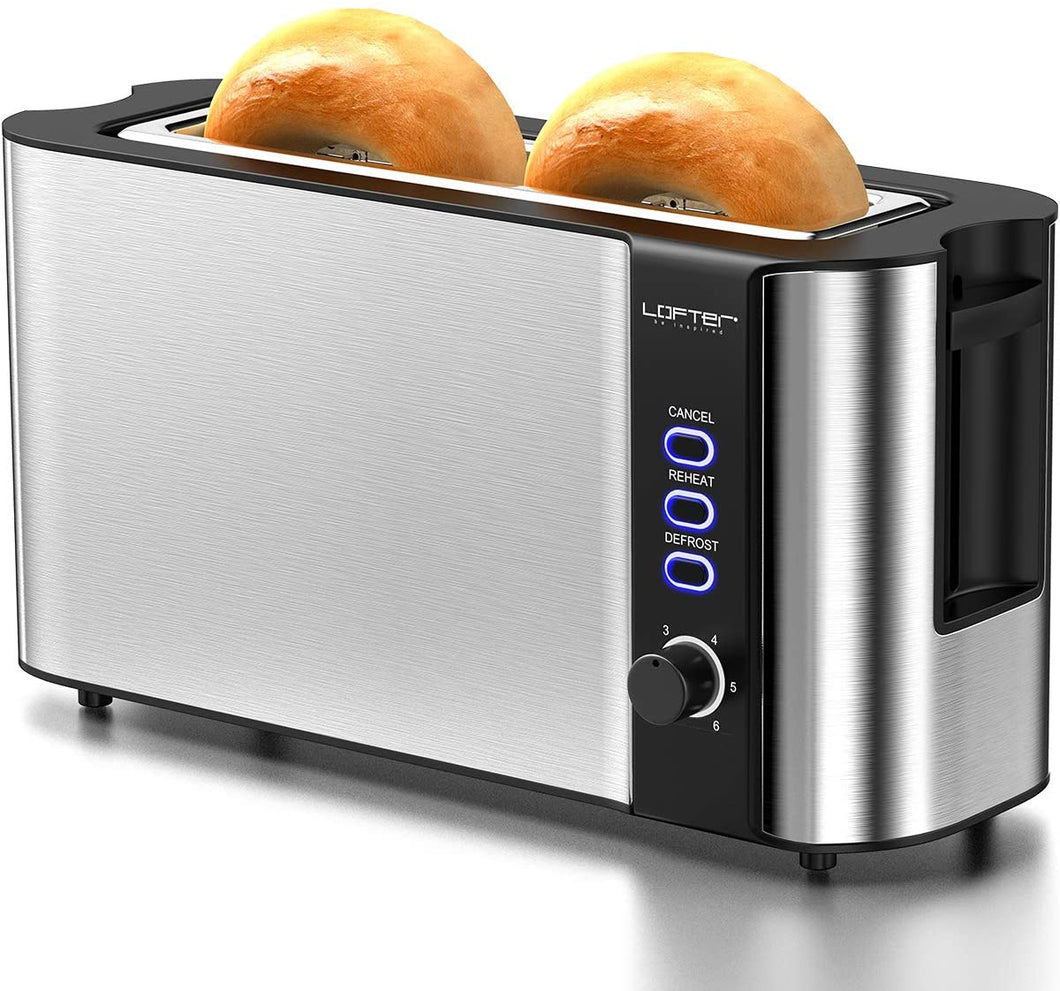 Long Slot Toaster, 2 Slice Toaster Best Rated Prime with Warming Rack, 1.7''