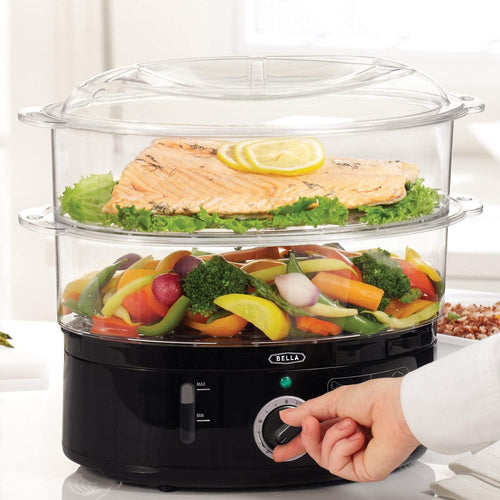 BELLA Two Tier Food Steamer, Healthy, Fast Simultaneous Cooking