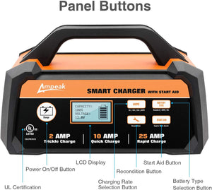 2/10/25A Smart Battery Charger/Maintainer 12V Fully Automatic w/Engine Starter