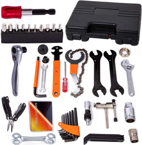 Bicycle Tool Kit Set with Reversible Drive Ratchet Tool, Chain Tool Bike Tire Tool Pedal Wrench
