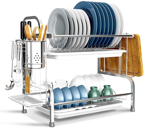Dish Drying Rack, BENEECA 2 Tier 304 Stainless Steel Rustproof