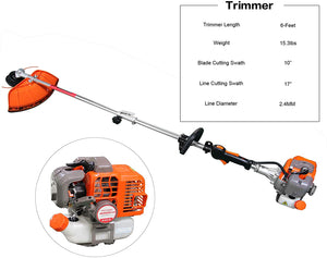 String Trimmer, Brush Cutter, Pole Chainsaw Pruner with Extension Pole..